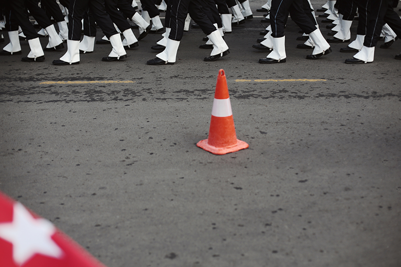 Parade of dressed up soldiers at the Turkish Republic Day.