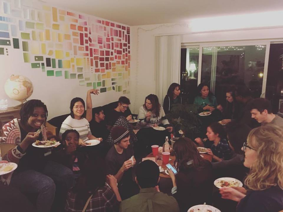 A full house as the Young Adults gather for a Sunday night potluck.