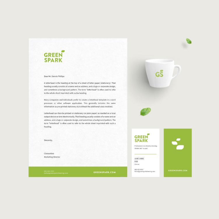 Identidad visual para Greenspark, compañía de limpieza con productos ecológicos.