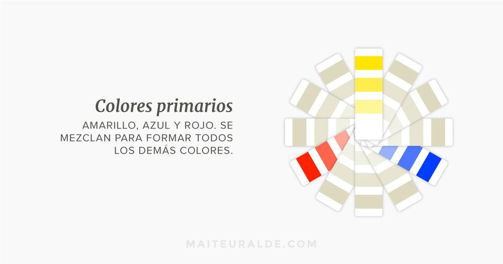 Colores primarios: Amarillo, azul y rojo. se mezclan para formar todos los demás colores.