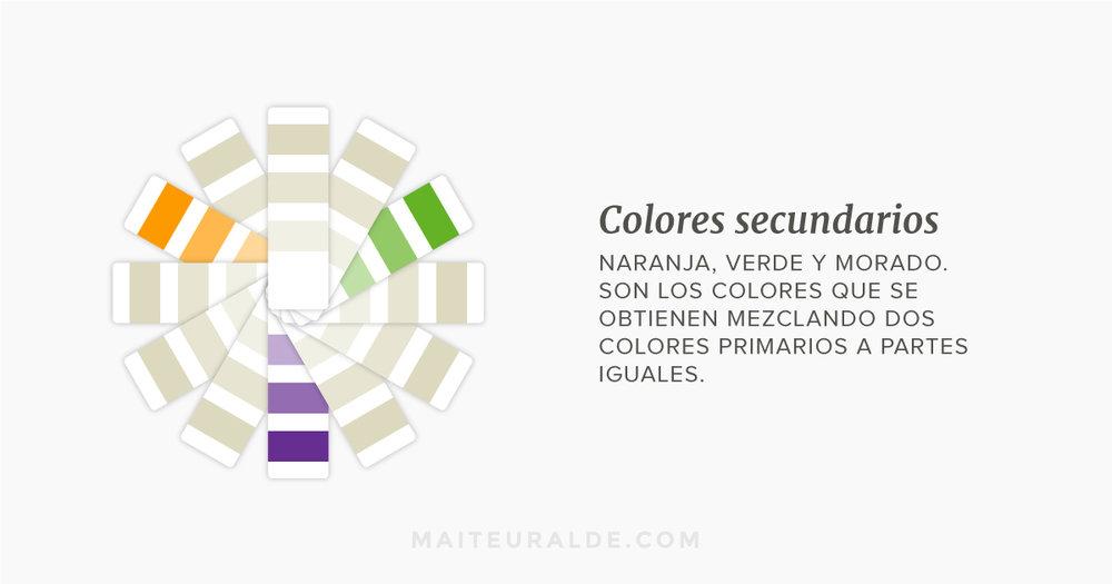 Colores secundarios: naranja, verde y morado. Son los colores que se obtienen mezclando dos colores primarios a partes iguales.