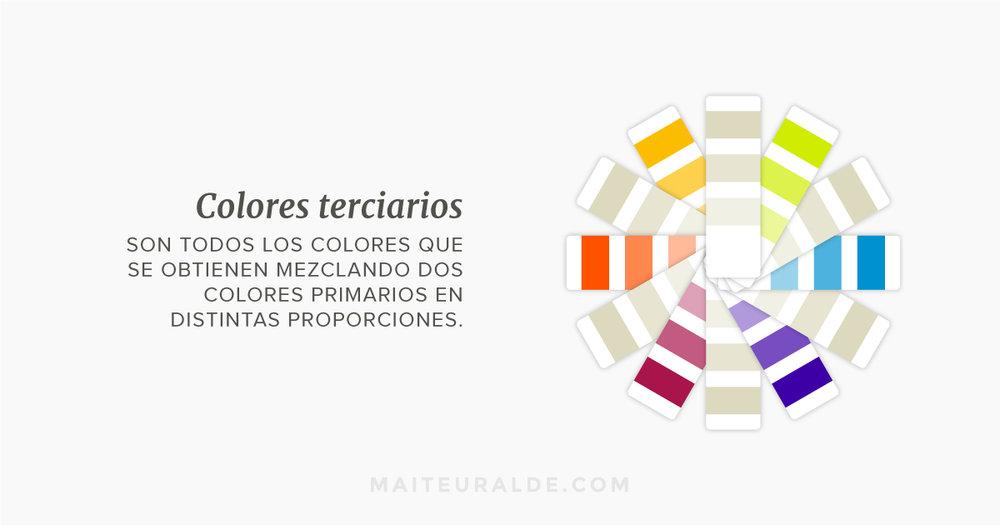 Colores terciarios: Son todos los colores que se obtienen mezclando dos colores primarios en distintas proporciones.