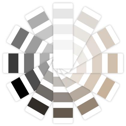 Colores neutrales: aquellos que se encuentran fuera del círculo cromático y que te ayudarán a unificar la paleta de c