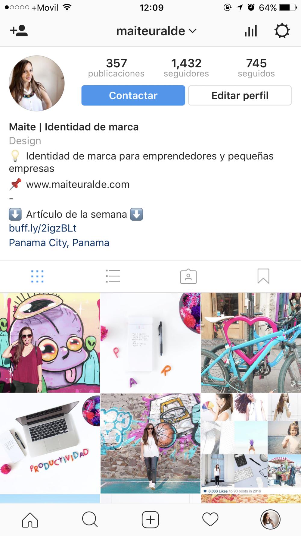 Perfil de negocios en Instagram - botón de contacto