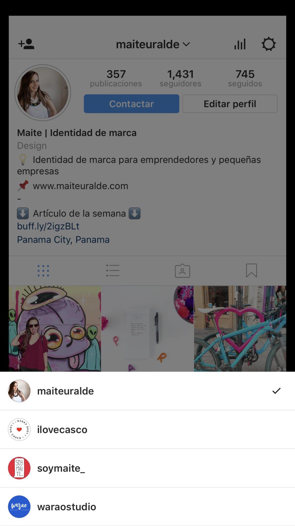Instagram multiples cuentas