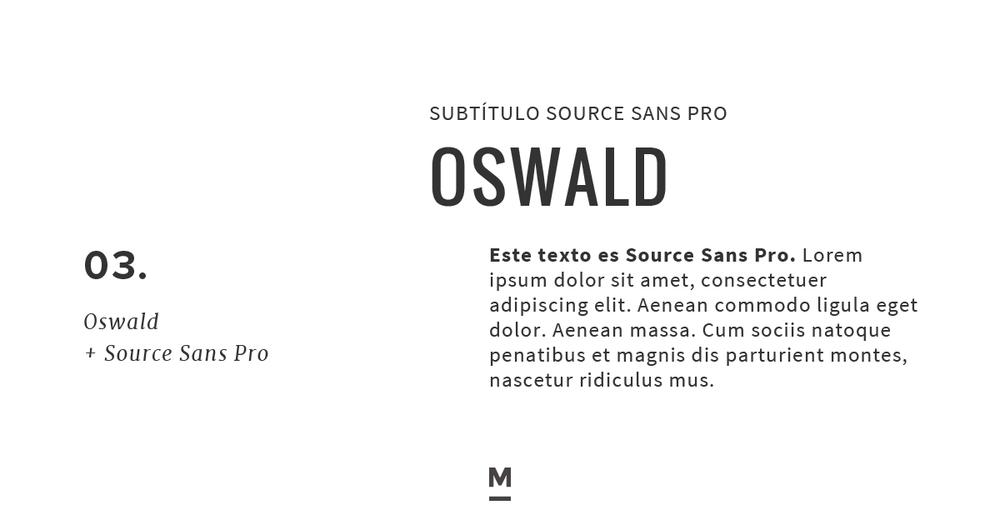 Combinación de tipografía con Google Fonts: Oswald + Source Sans Pro