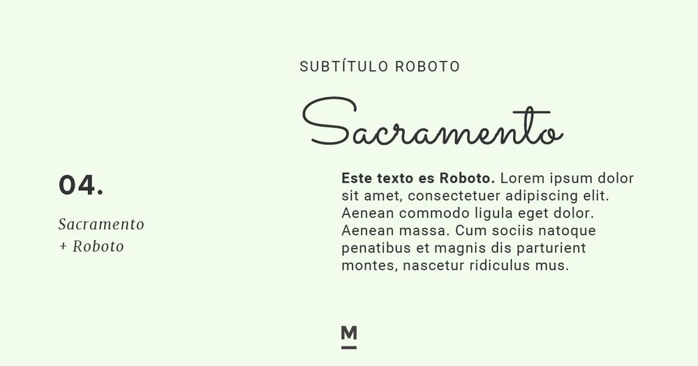 Combinación de tipografía con Google Fonts: Sacramento + Roboto