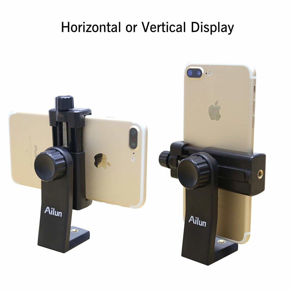 soporte para teléfono - Esto lo utilizo junto al trípode de mesa. Me permite colocar el teléfono en vertical u horizontal.