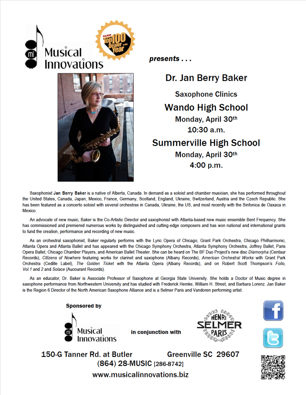 Dr. Jan Berry Baker is hosting a Saxophone Clinic at Wando High School. Sponsored in part by Musical Innovations.