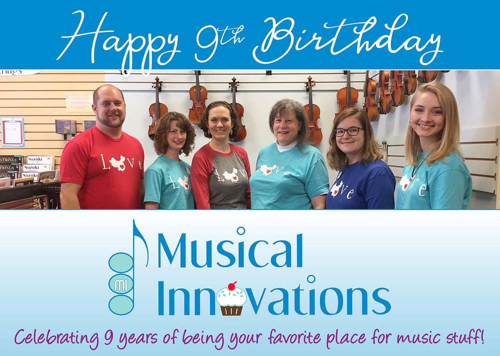Musical Innovations is celebrating 9 years of business with a sale offering 9% off music and accessories.