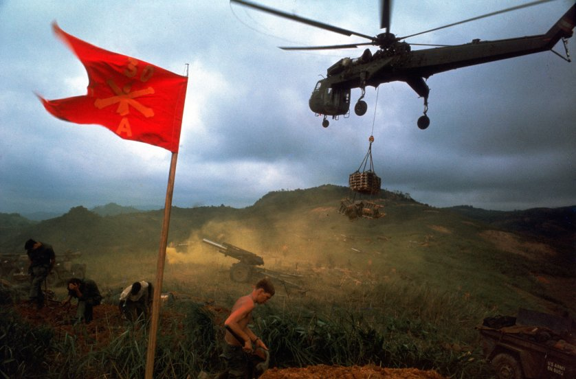 An American 1st Air Cavalry helicopter airlifts supplies into a Marine outpost during Operation Pegasus in Vietnam in 1968..jpg