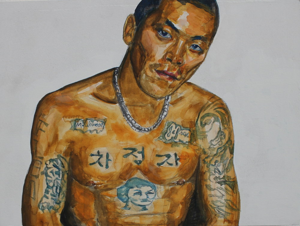 "Flea - 9"" x 12"" gouache on wood panel, 2013  This painting is a portrait of a fellow member of a gang I was once a part of as an adolescent growing in Los Angeles during the 90s. I look back at that time with no regrets but also not nostalgically, instead, more with a curious eye, as someone investigating the past. We called him Flea, small yet mighty, often times we never knew the actual birth names of fellow members. The tattoo markings on his body tell stories of his life which in many ways parallel those in my own life. He is of Korean descent as the tiger and the letters of his mother name indicate. You can also see the face of his mother at the center, as someone who is important to him. Across his chest, he bears the letters of the gang we were both in, a Filipino gang called Maplewood Ave. (the name of our neighborhood) and Jefrox (the name of our gang). The type of script and the shaved head also depict the history of gangs and immigration. Even though we're Asian we took on the characteristics of latino gangs in every way, from claiming a ""barrio""  (neighborhood), to the attire and even the language we used. If you look back in L.A. history, the very first gangs were Irish and Jewish, existing because they too were immigrants at one time and there existed a necessity for banding together to protect and find belonging, as a matter-of-fact, many of the oldest now Latino gangs are a direct legacy of these European gangs, some bearing the same name. As a people group, Filipinos arrived to the U.S. in the 60s while Koreans arrived in the 80s, which meant Filipino gangs existed for Koreans, seeking the same acceptance, to join. Just as the Irish gangs became Latino the Filipino gangs became predominately Korean as demographics shifted. At some point as people groups assimilate the necessity for these gangs no longer exist, and the gangs die, as this one eventually did. Flea later died of an overdose."