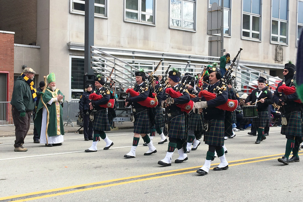 John Walsh (front row, second from left) and the Pittsburgh Firefighters Memorial Pipe Band.