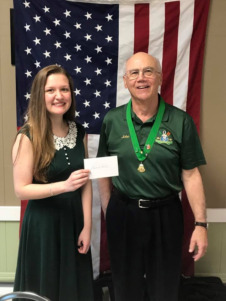 Pictured with Breanna is AOH County Board Vice President, John Tarpey