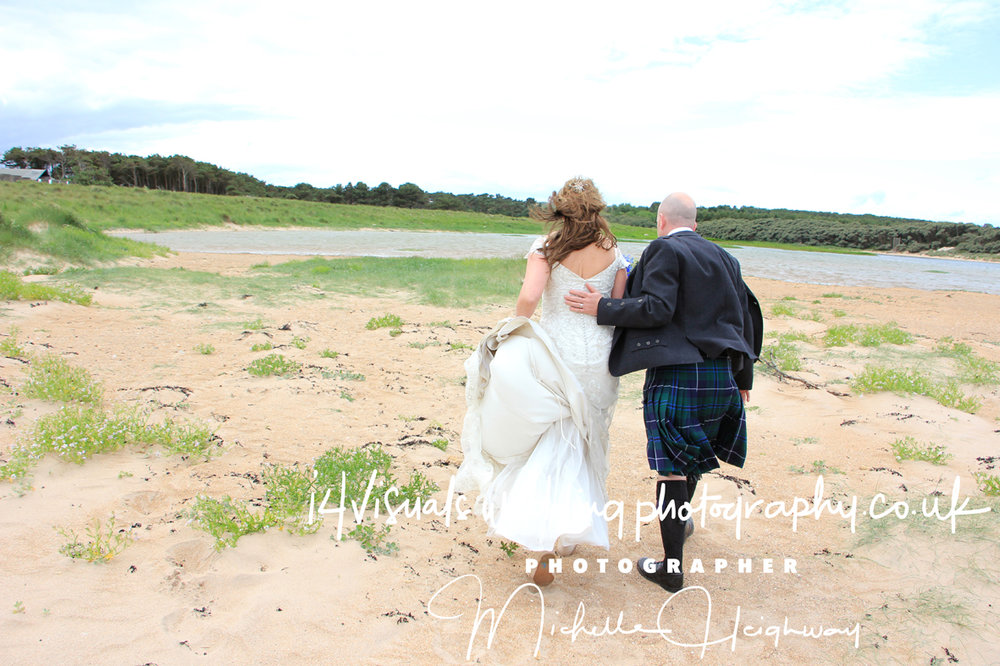 beach wedding shot