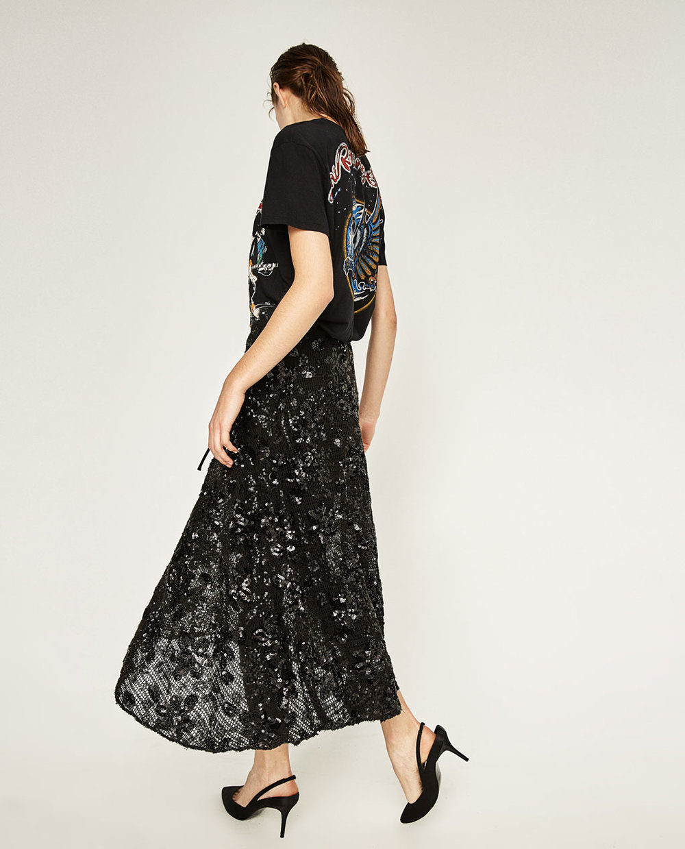 sequin midi skirt $100