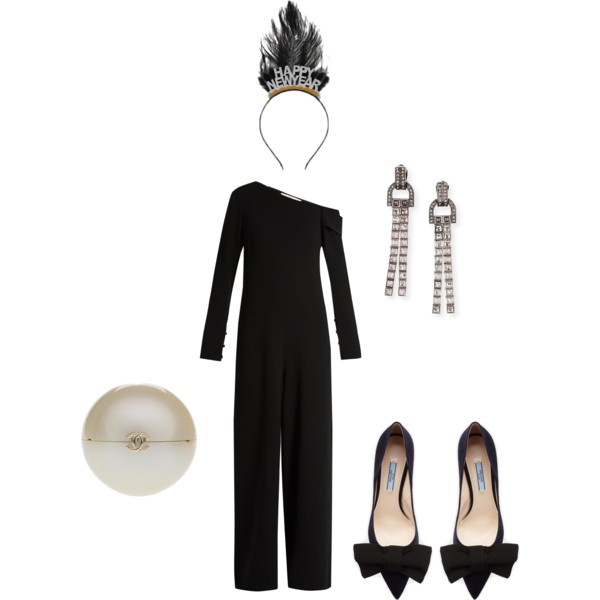 Tibi  jumpsuit,  Lanvin  tassel earrings,  Chanel  vintage pearl clutch,  Prada  pumps and  Target  Happy New Year headband.