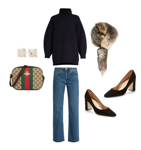 Acne Studiosnavy turtleneck sweater,Raeystraight-leg denim,Dolce & Gabbanafur scarf,Manolo Blahnik'Tuccioto' pumps,Guccicross body bag and Melissa Joy Manningpearl earrings.