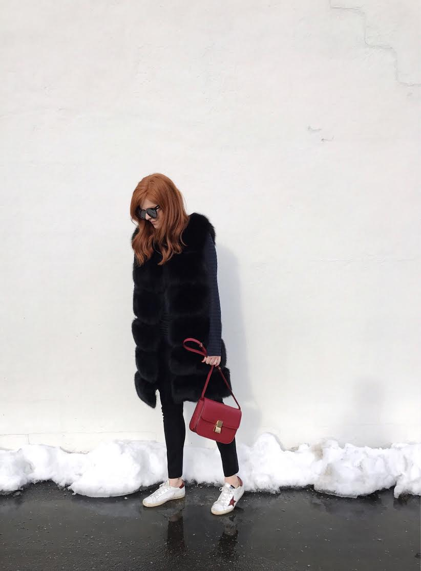 Zara long sleeve striped tee, black long fur vest, JCrew suede leggings, Golden Goose sneakers, Celine red box bag.