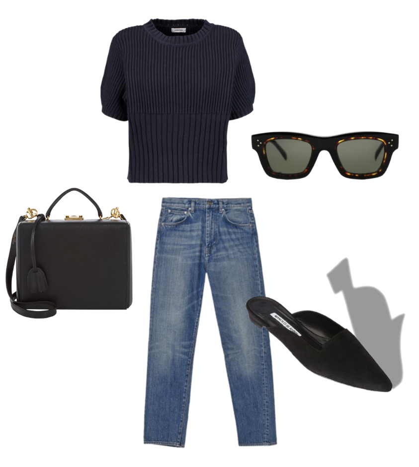 Toteme cropped knit sweater, Toteme original denim, Céline sunglasses, Manolo Blahnik suede mules and Mark Cross leather box bag.