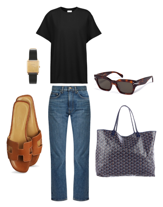 Toteme  tee,  Brock Collection  denim,  Celine  sunglasses,  Goyard  tote,  Hermes  slides