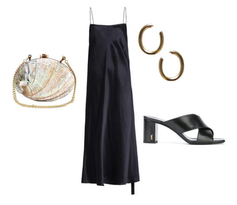 Ellery navy slip dress,  Laura Lombardi  hoop earrings,  Rocio  shell clutch and  Saint Laurent mules.