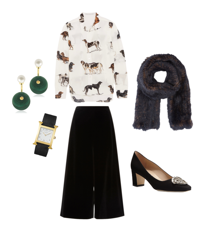 Stella McCartney  blouse,  Rosetta Getty  culottes,  Barneys New York  scarf,   Manolo Blahnik  pumps,  Hermes  watch,                                                                                   and  Delfina Delettrez  earrings.