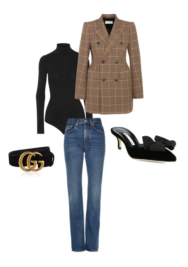 Balenciagablazer, Brock Collection high-rise jeans, Theory bodysuit,Manolo Blahnik velvet mules and Gucci belt.