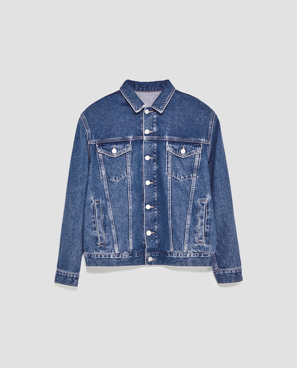 denim jacket with shoulder pads $70
