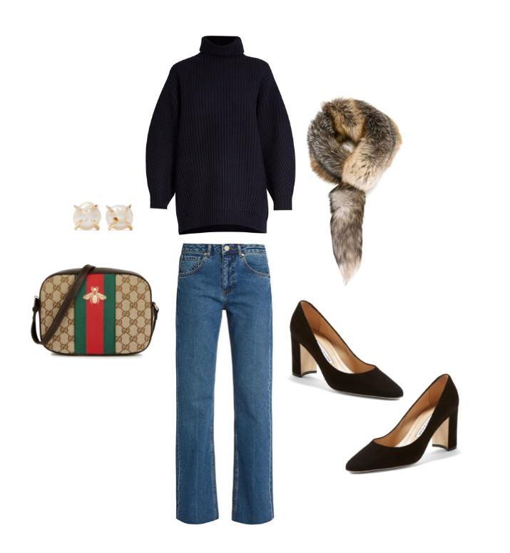 Acne Studios  navy sweater,  Raey  denim,  Dolce & Gabbana fur scarf,  Manolo Blahnik  pumps, Gucci  cross-body and                                    Melissa Joy Manning  pearl earrings.