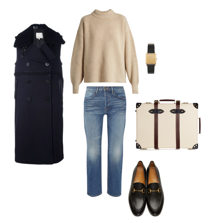 3.1 Phillip Lim  coat,  The Row  sweater,  Frame  denim,  Gucci  loafers,  Globe-Trotter  luggage and  Isabel Marant  watch.