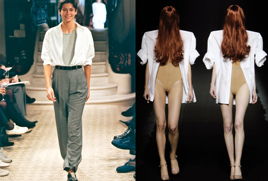 left, Hermès Spring/Summer 1999; right, Maison Martin Margiela Spring/Summer 2009. Photo by Studio des Fleurs and Giovanni Giannoni