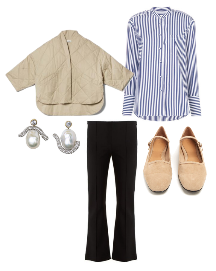 Totême  jacket,  Khaite  striped button down,  The Row  trousers,  The Row  mary janes and  Céline  baroque earrings.