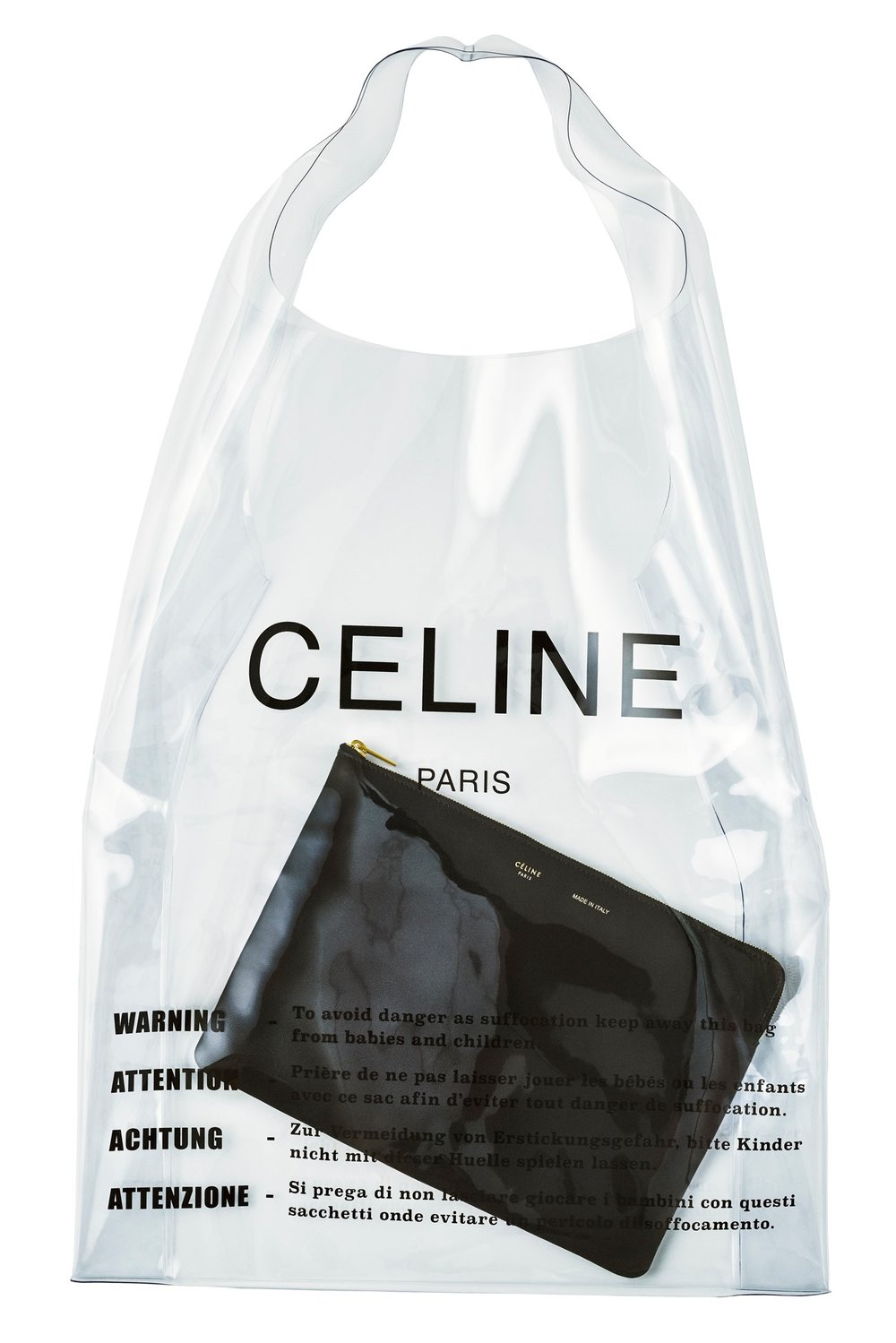 Céline - I've had this plastic bag (with the leather pouch) for a few months now and I am continually amazed at how functional and versatile it really is.