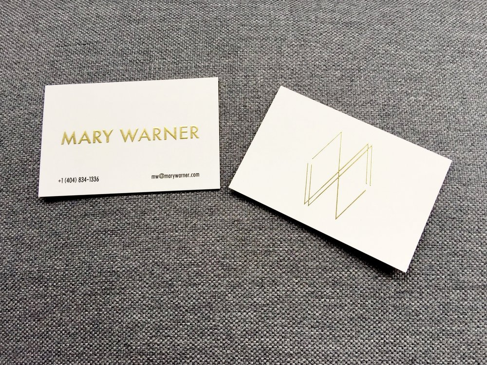 Mary Warner // business cards /  Integrated gold and simple design to convey intersection of work I create.