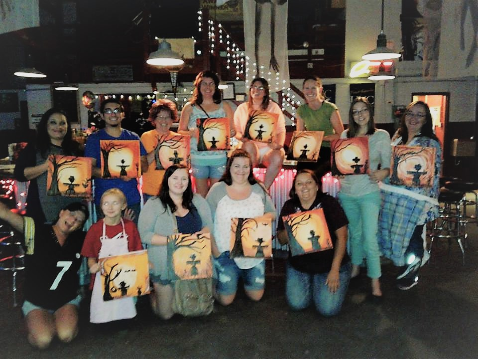 September's Canvas & Cocktails class photo. Want your art to be featured in the next one? Sign up!
