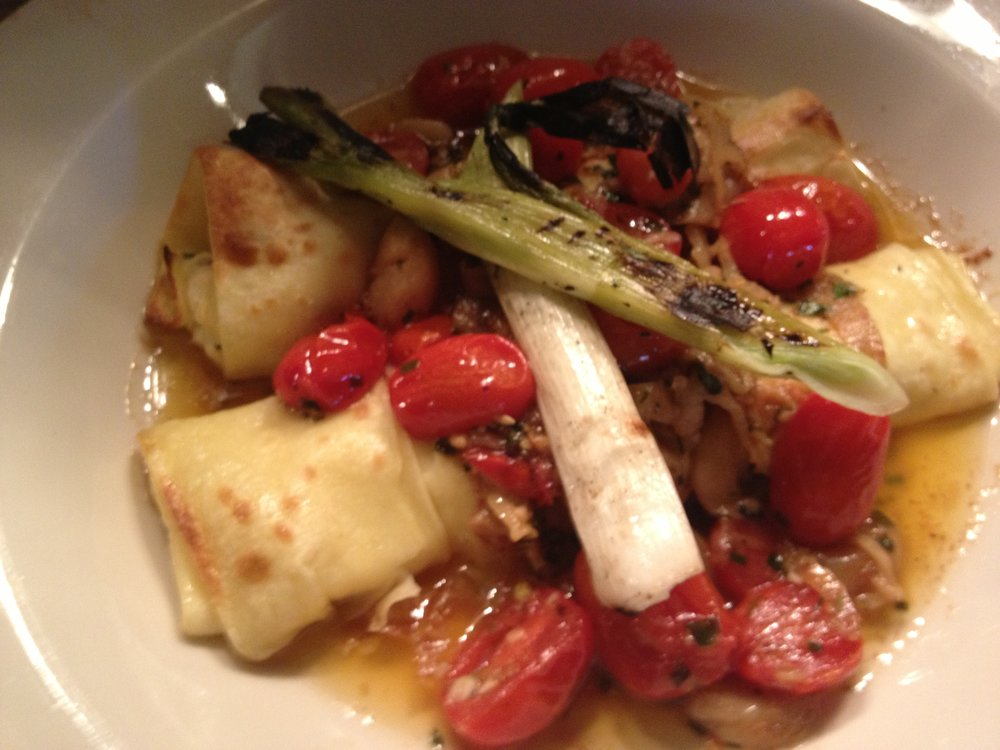 Food Fire + Knives: Lobster Ravioli, Grilled Scallions, Tomatoes, Sherry Broth