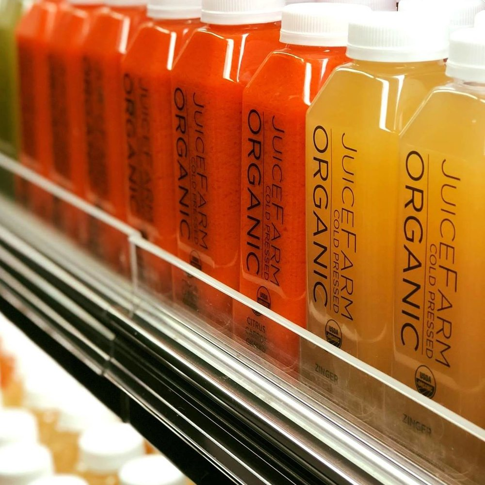 JuiceFarm juices in a refrigerator