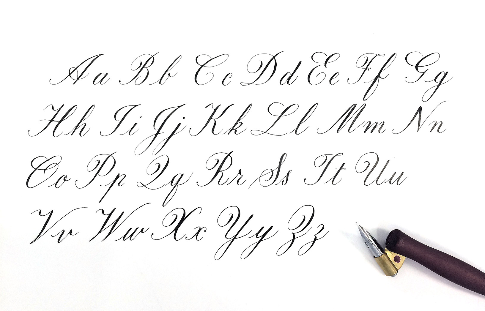 graphic about Copperplate Calligraphy Alphabet Printable called A simple heritage of Copperplate Calligraphy Typerie