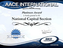 The National Capital Section received a Platinum Award Certificate of Outstanding Performance for the forth year in a row. Congratulations and much appreciation goes to our board and members for a successful 2015-2016 year.