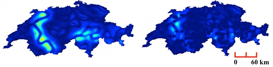 A heatmap of propensity to violence in Switzerland without (left) and with (right) boundaries