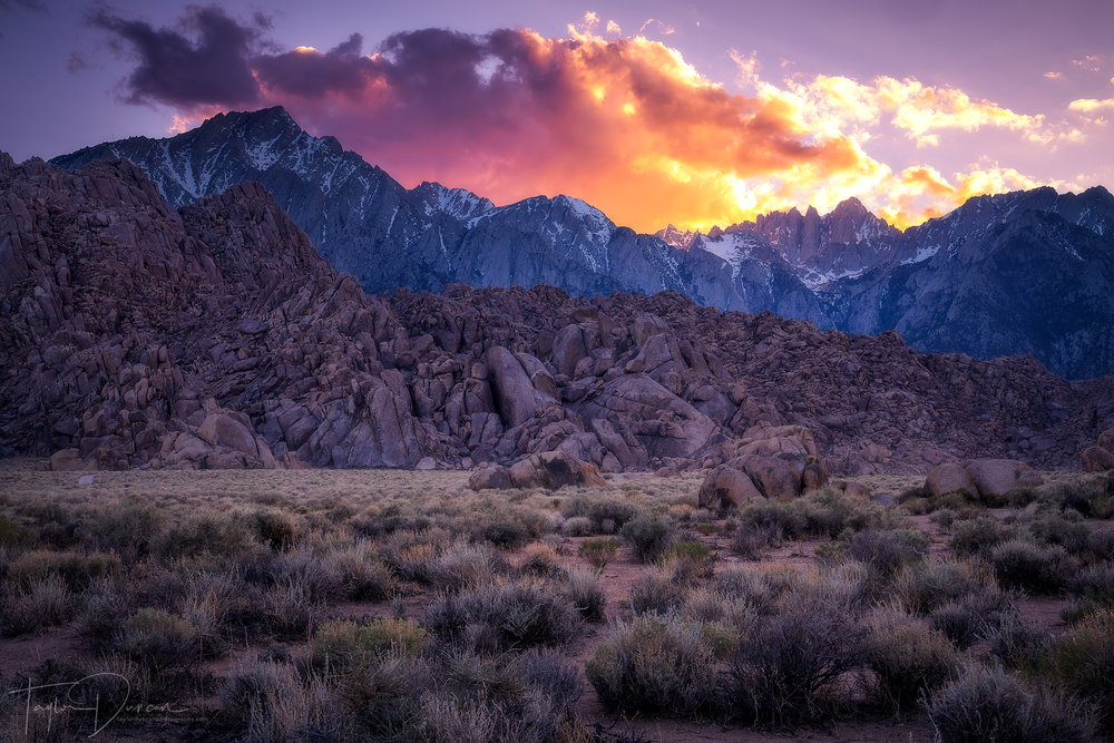 The sky put on a show above Lone Pine Peak & Mt. Whitney during sunset in the Alabama Hills.