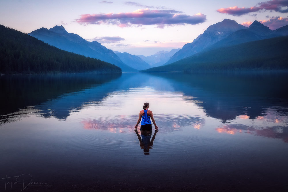 My friend Meg ( @lilm3gg ) takes in the a beautiful sunset over the calm glacial waters