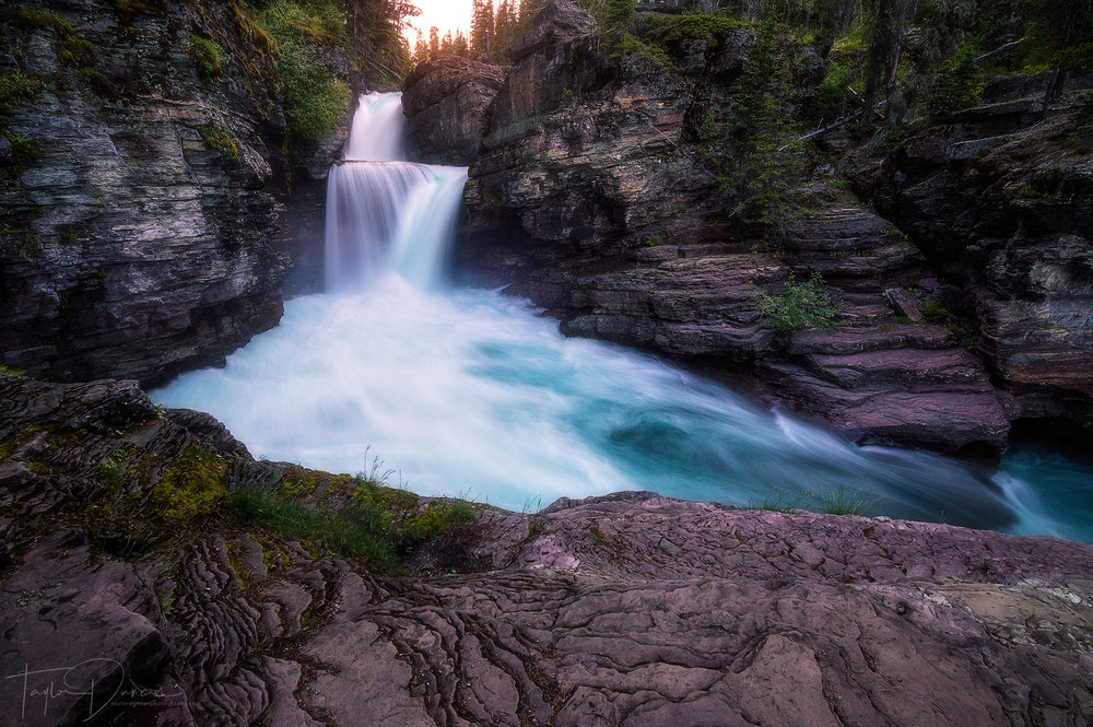 St. Mary Falls at sunset in late June
