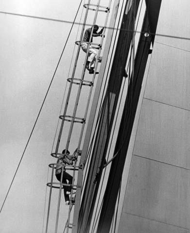 July 14, 1964: CORE demonstrators Percy Green (top) and Richard Daly on the Arch. They stayed on the Arch for five hours.  (Photo courtesy stlpublicradio.org)