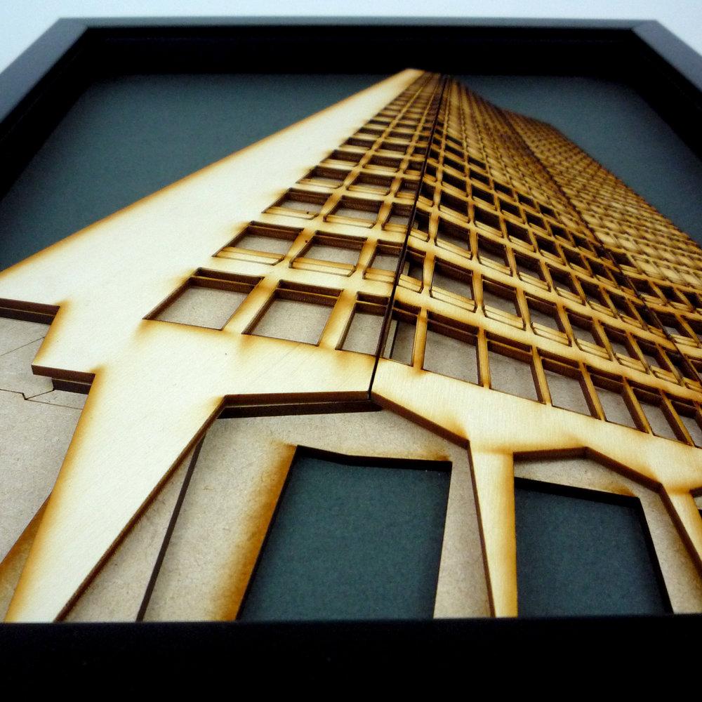 Laser cut artwork showing ground floor columns
