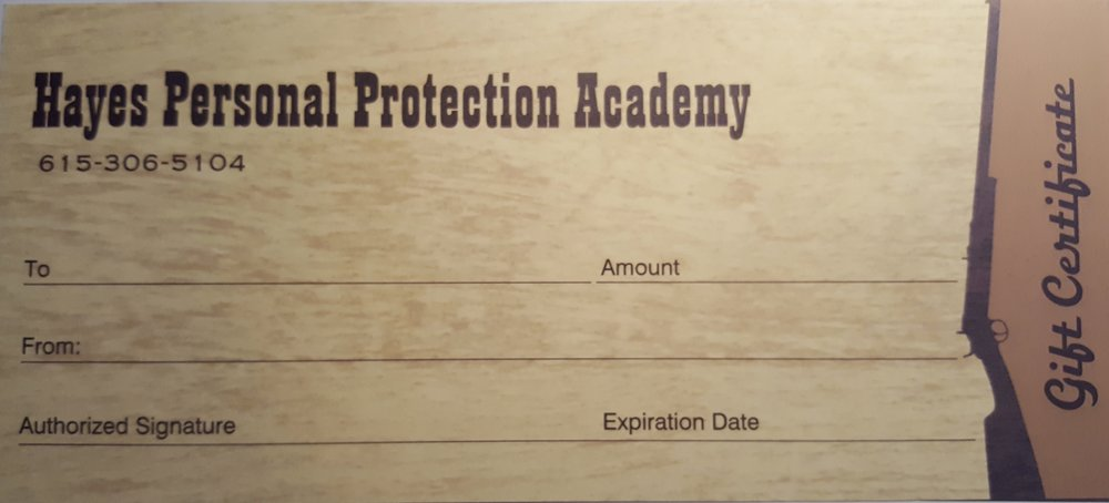 gift certificate hayes personal protection academy