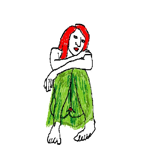 Wherein the grassy skirt is unhiding of red lips to complement red hair.