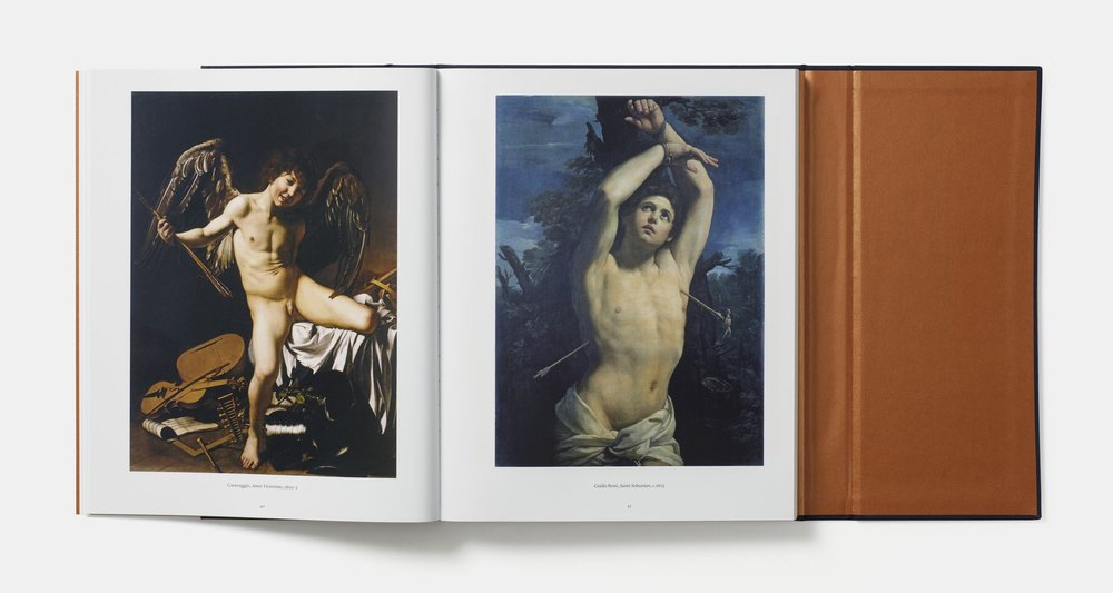The Art of the Erotic, Phaidon, open at pages 40-41, showing  Caravaggio, 1601-2 (left) and Guido Reni, c. 1625 (right)
