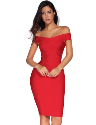 Meilun , Women's Rayon Stap V-Neck Bandage Bodycon Party Dress,  $52.00